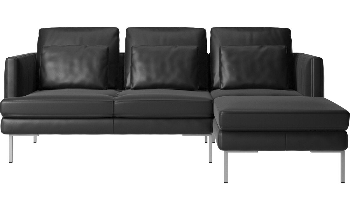 Chaise longue sofas - Istra 2 sofa with resting unit - Black - Leather