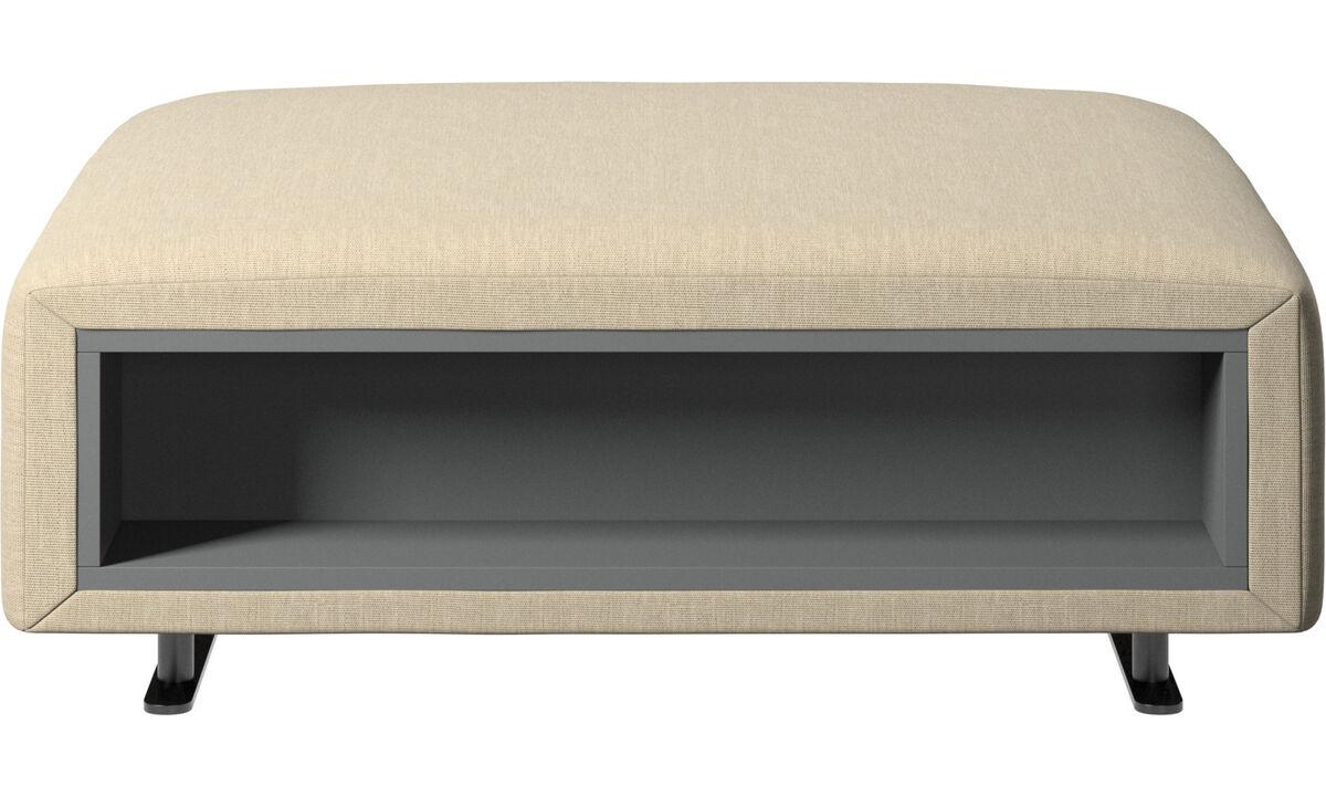 Pufs - Puf Hampton con almacenamiento lados derecho e izquierdo - En marrón - Tela