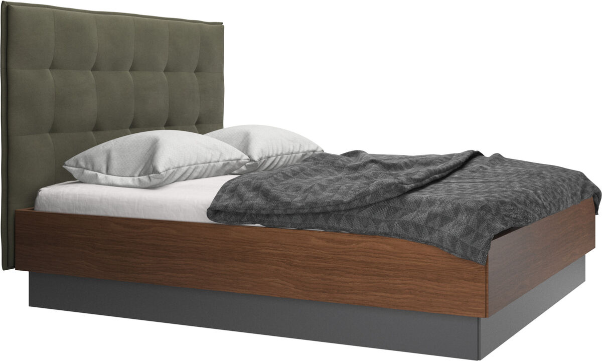 Beds - Lugano storage bed with lift-up frame and slats, excl. mattress - Green - Leather