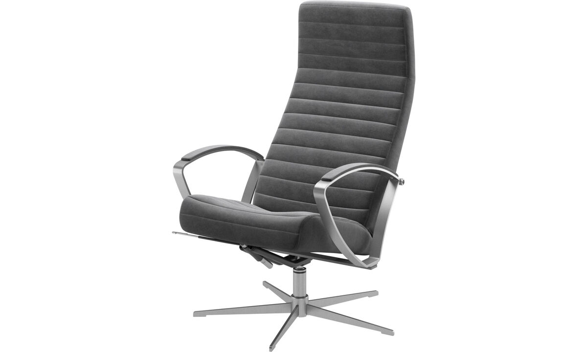 Armchairs - Wing recliner with swivel function - Grey - Fabric