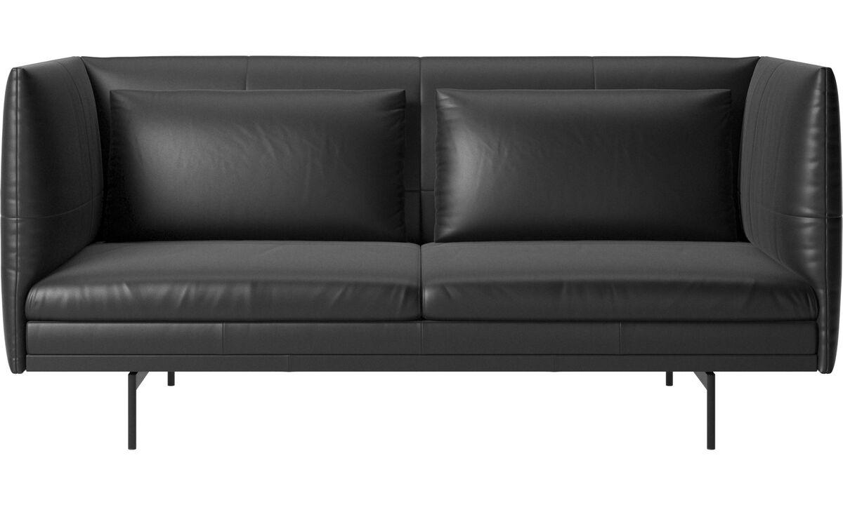 Sofás de 2 plazas - Sofá Nantes con cojines - En negro - Piel