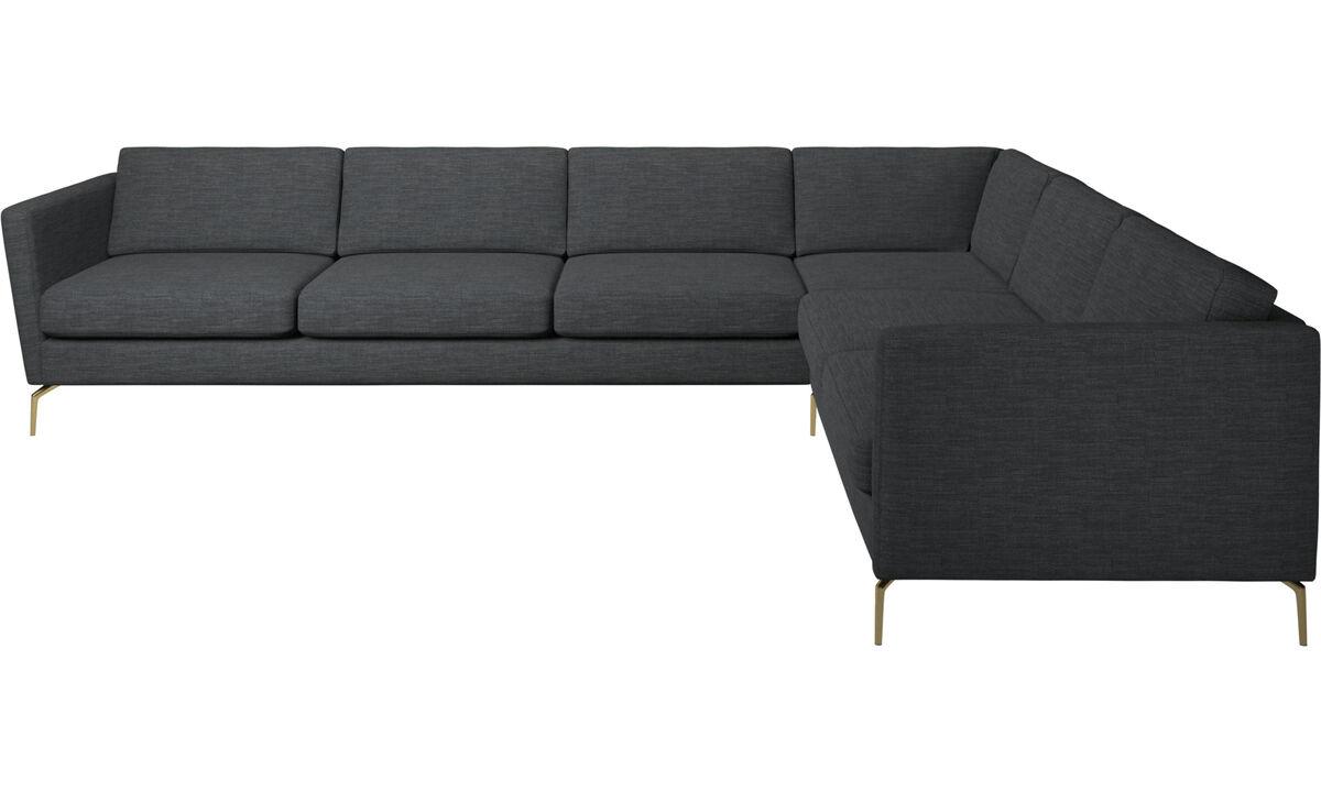 Sofás esquineros - sofá esquinero Osaka, asiento regular - En gris - Tela