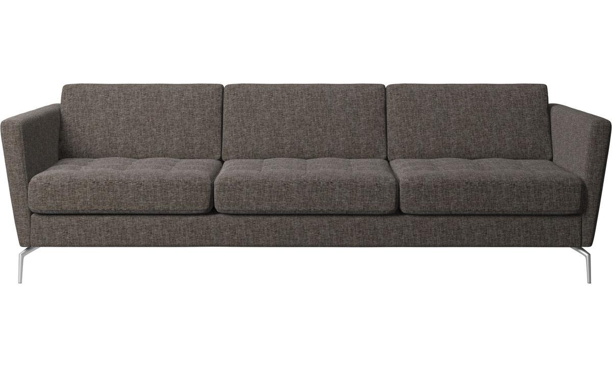 3 seater sofas - Osaka sofa, tufted seat - Brown - Fabric