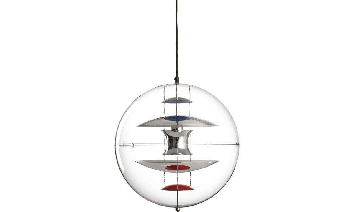Luminaires - Suspension Globe - Verre transparent - Plastique