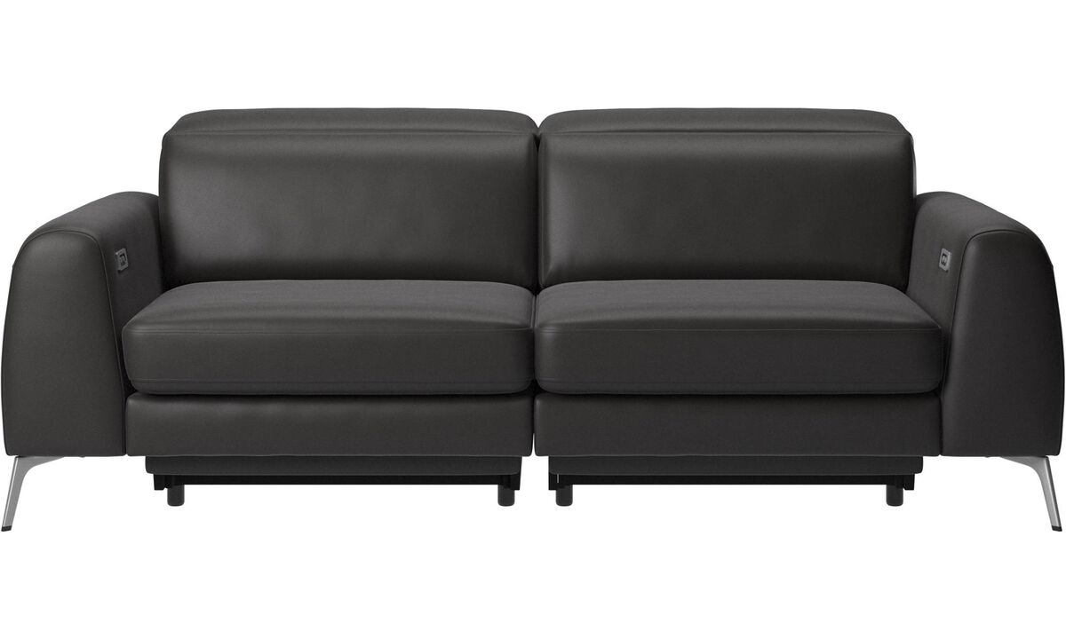 Sofas - Madison sofa with electric seat, head and footrest motion (transformer and cable plug-in included) - Black - Leather