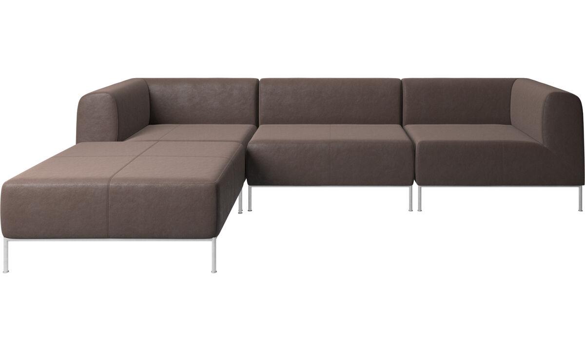 Sofás modulares - Sofa Miami com puf no lado esquerdo - Metal