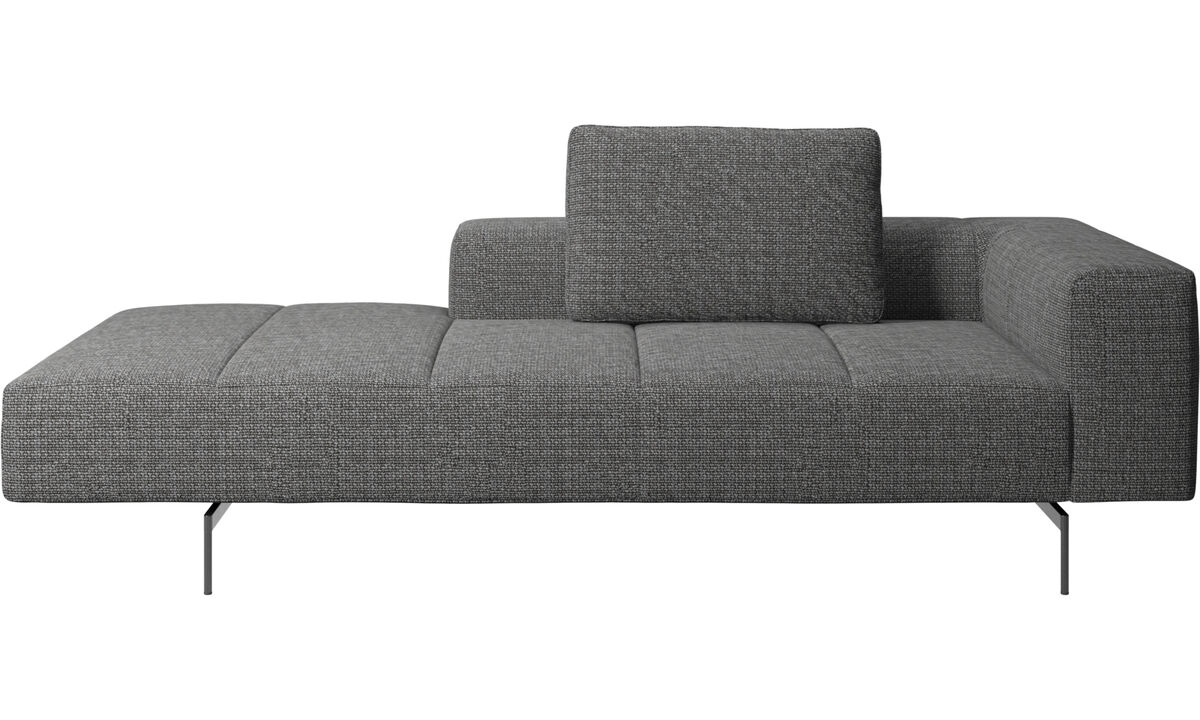 Chaise lounge sofas - Amsterdam Iounging module for sofa, armrest right, open end left - Gray - Fabric