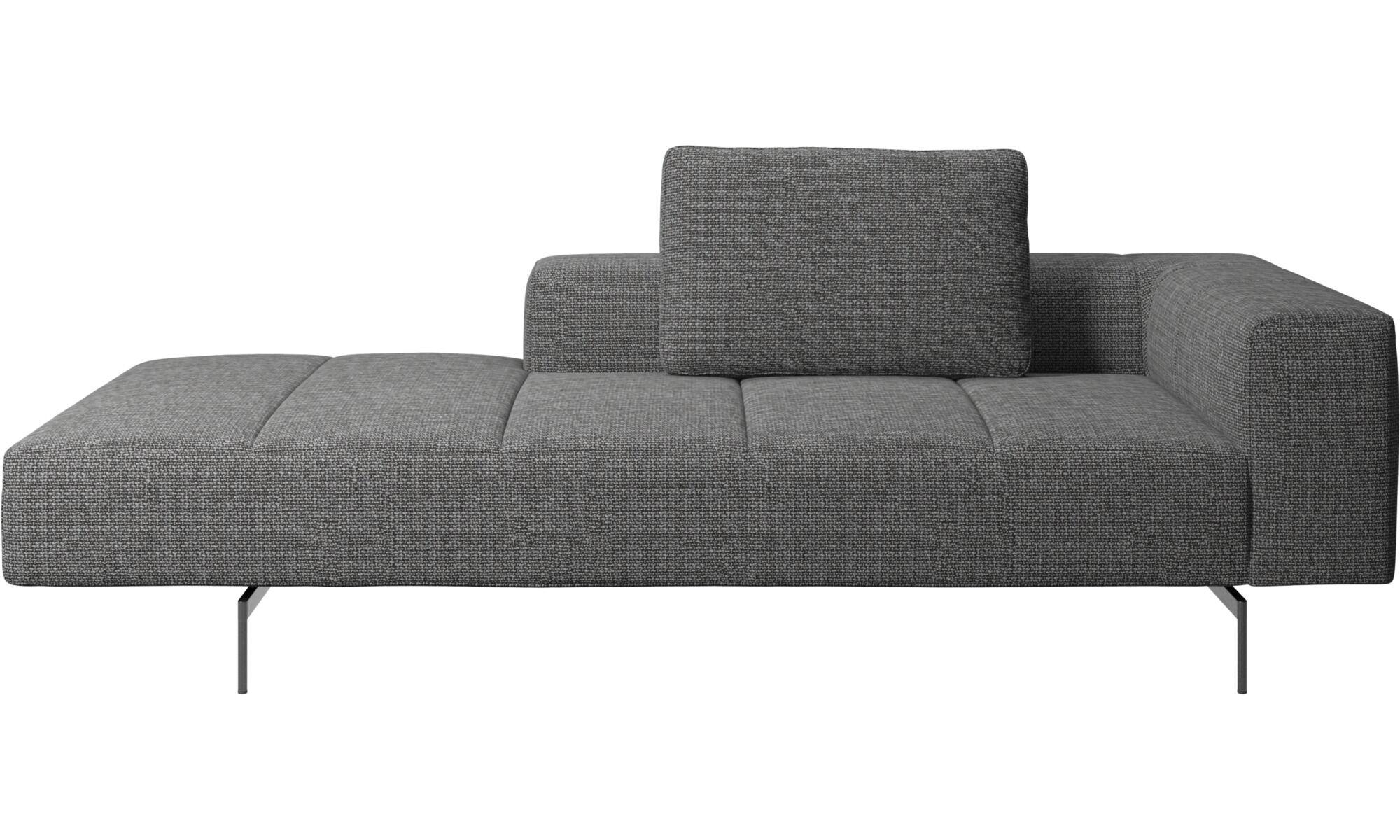 Sofas Mit Récamiere   Amsterdam Sofa Loungemodul, Mittelgroße Armlehne  Links   Grau   Stoff
