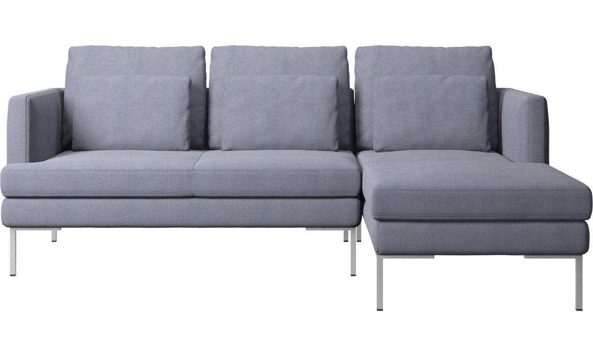 Sofás con chaise longue - Sofá Istra 2 con módulo chaise-longue - En azul - Tela