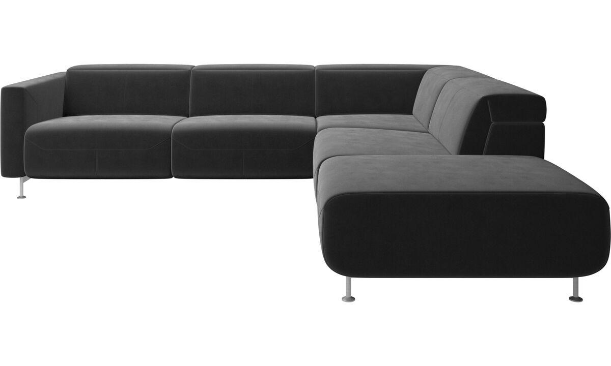 Recliner sofas - divano reclinabile ad angolo Parma senza bracciolo - Nero - Tessuto