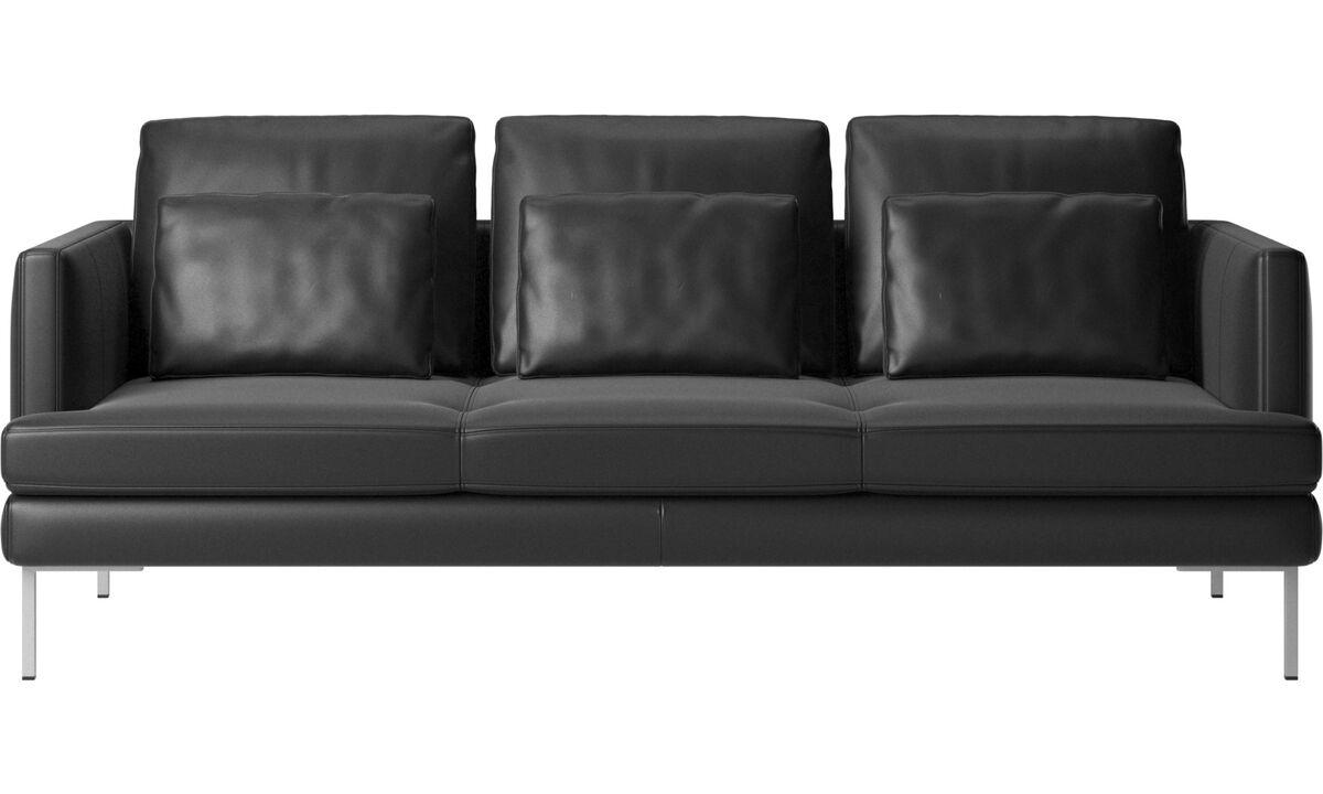 Sofás de 3 plazas - sofá Istra 2 - En negro - Piel