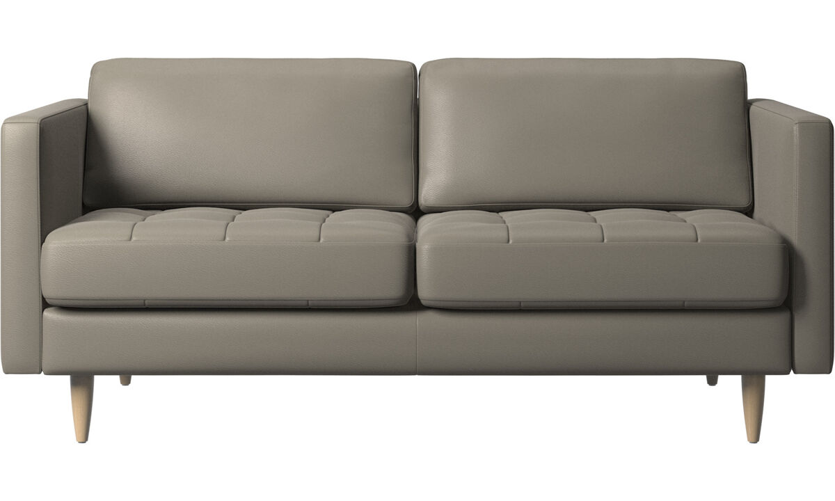2-sitzer Sofas - Osaka Sofa, getuftete Sitzfläche - Grau - Leder
