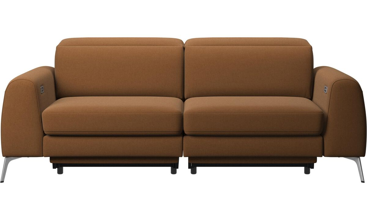 New designs - Madison sofa with electric seat, head and foot rest motion (transformer and cable plug-in included) - Brown - Fabric