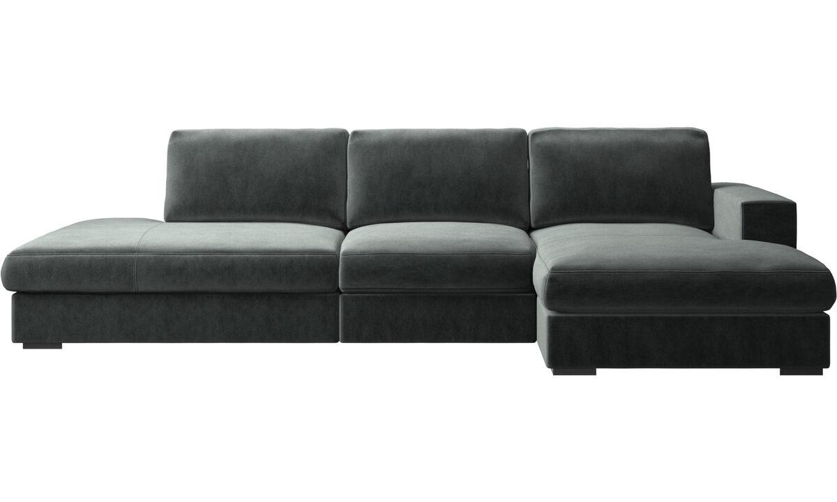 3-sits soffor - Cenova soffa med lounge- och vilmodul - Grön - Tyg