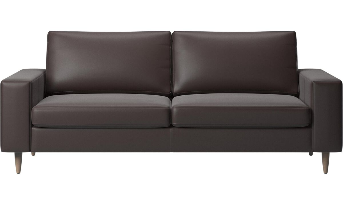 2.5 seater sofas - Indivi 2 sofa - Brown - Leather