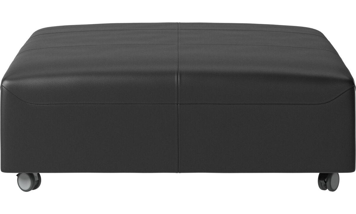 Пуфики - Пуф на колесах Hampton - Черного цвета - Кожа