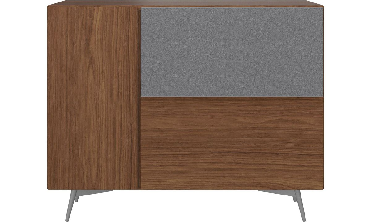 New designs - Lugano highboard with drop down doors - Brown - Walnut