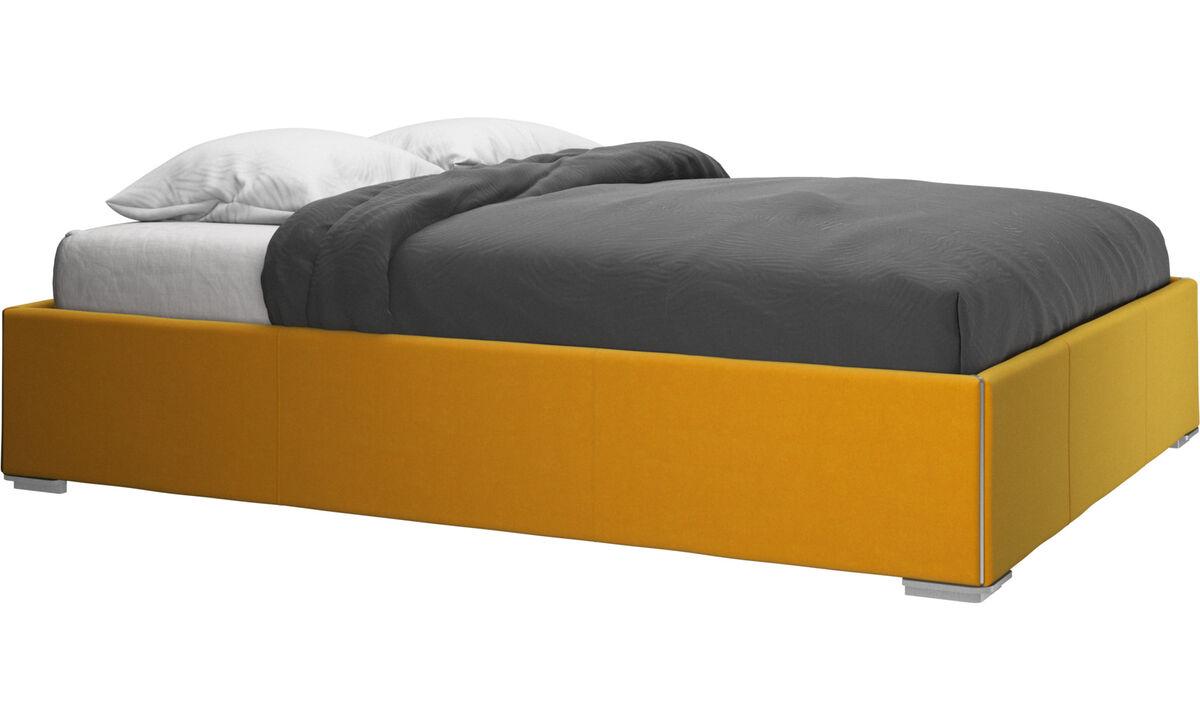Camas - cama con canapé Mezzo, estructura elevable y tablado, no incluye colchón - Naranja - Tela