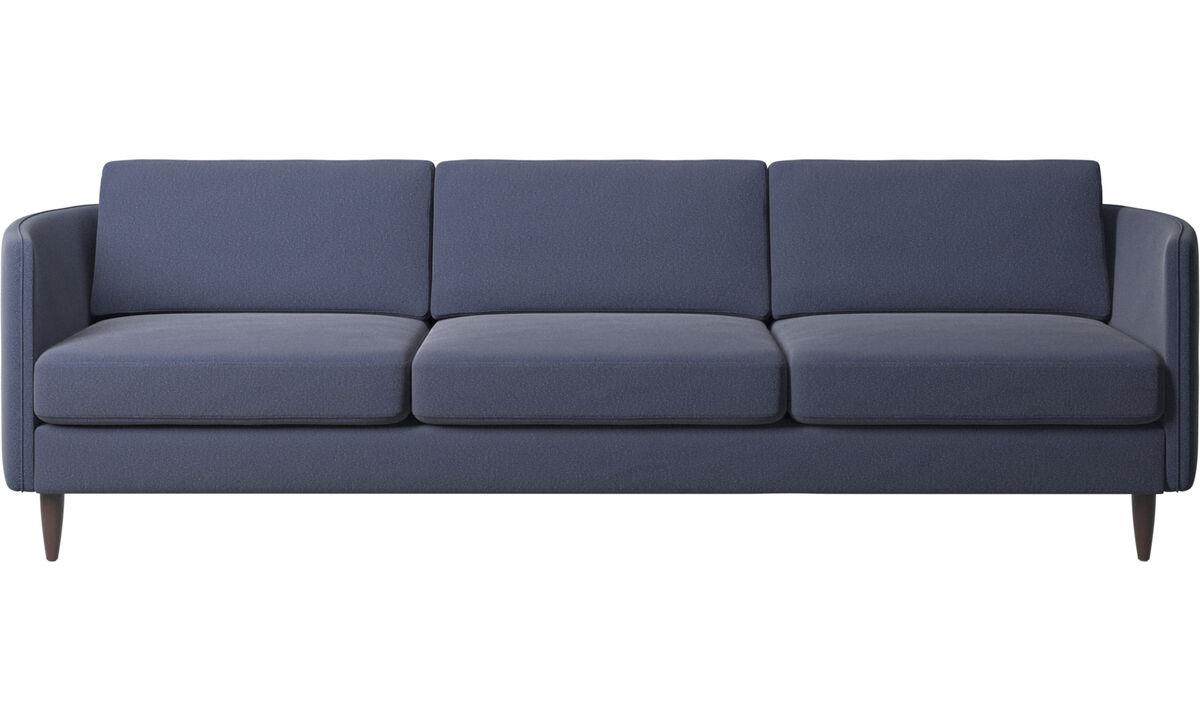 Canapés 3 places - canapé Osaka, assise classique - Bleu - Tissu