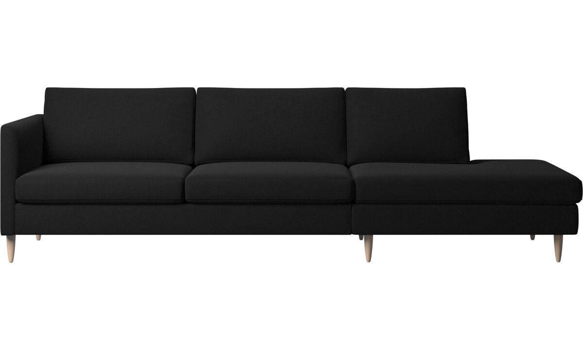 Sofas with open end - Indivi divano con lounge - Nero - Tessuto
