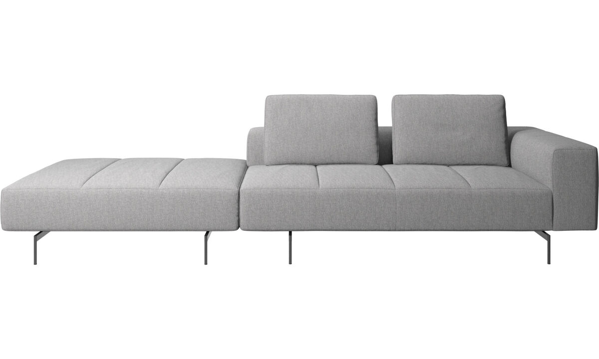 3 seater sofas - Amsterdam sofa with pouf on right side - Gray - Fabric