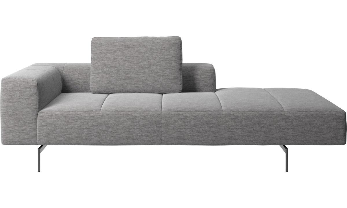 Modular sofas - Modulo lounge Amsterdam per divano, bracciolo sinistro, senza bracciolo destro - Grigio - Tessuto