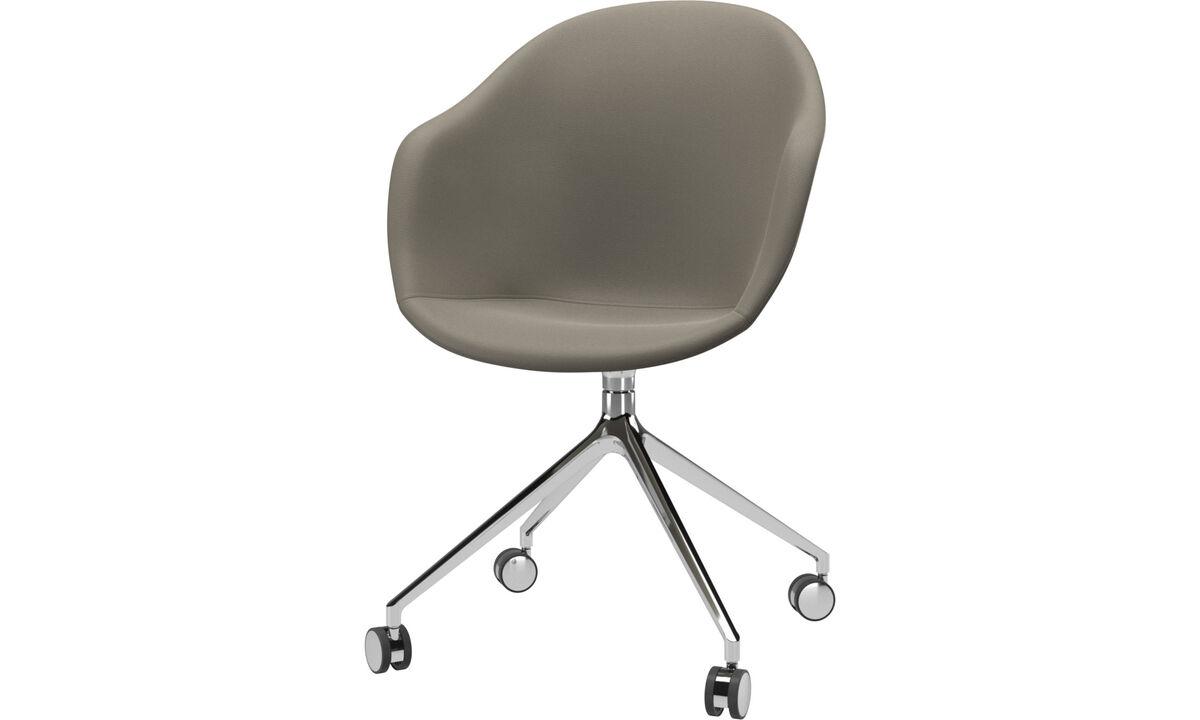 Jídelní židle - Židle Adelaide s otočnou funkcí a kolečky - Šedá barva - Kůže
