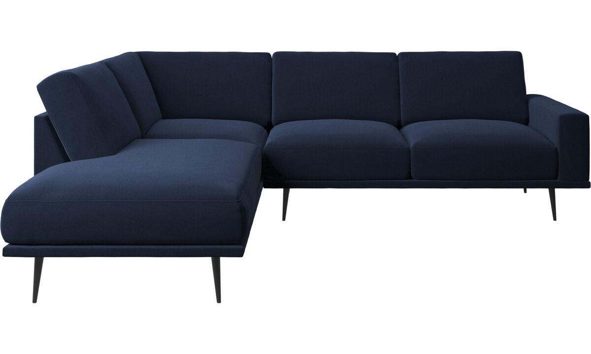Sofas with open end - Carlton divano con modulo lounge - Blu - Tessuto