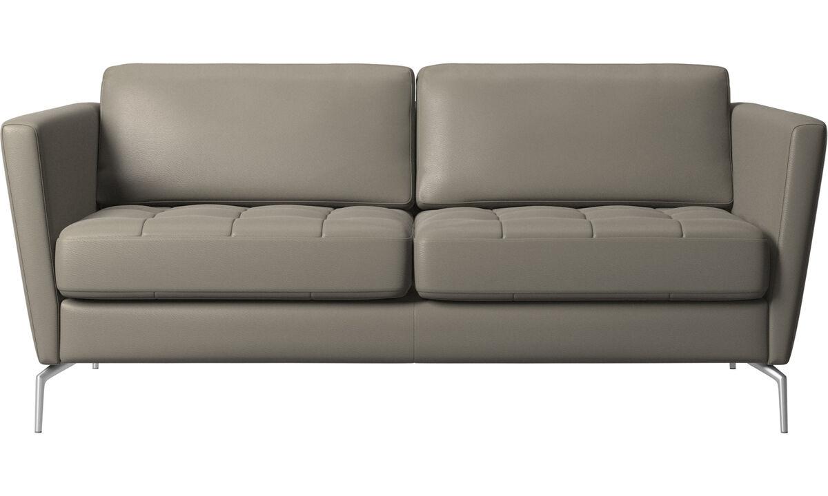Sofás de 2 plazas - sofá Osaka, asiento capitoné - En gris - Piel