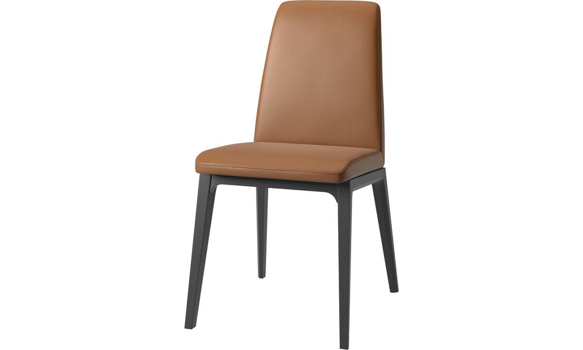 Sillas de comedor - silla Lausanne - En marrón - Piel