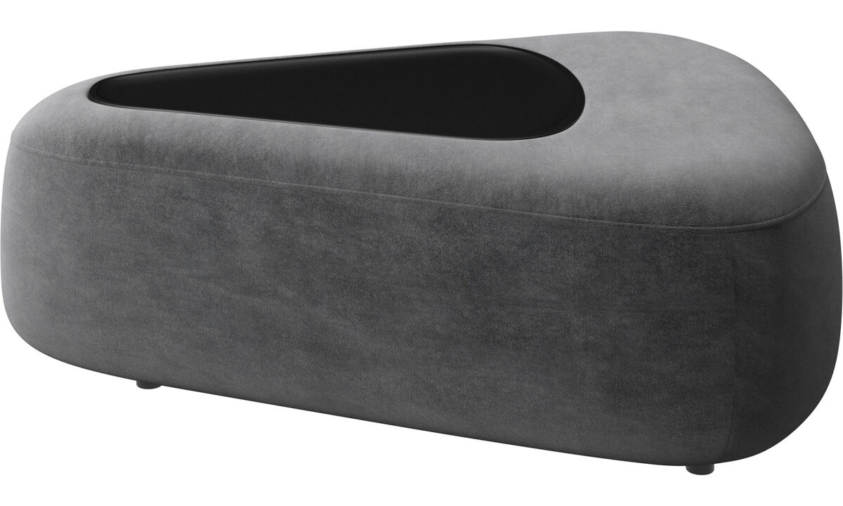 Modular sofas - Ottawa triangular pouf with tray matte black structure - Gray - Fabric