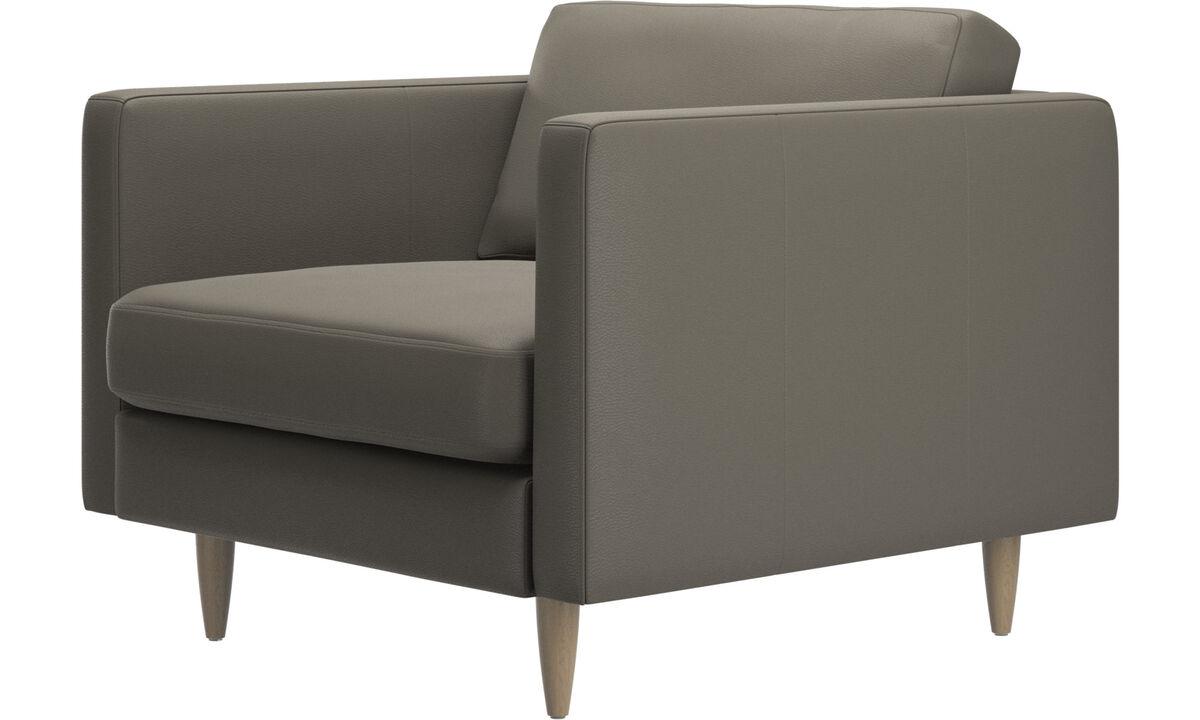 Armchairs - Osaka chair, regular seat - Grey - Leather