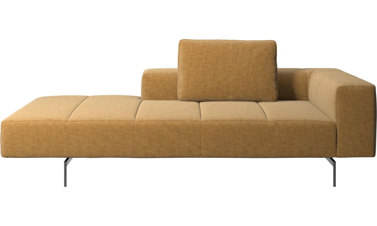 Chaise longue sofas - Amsterdam lounging module for sofa,  medium armrest left - Beige - Fabric