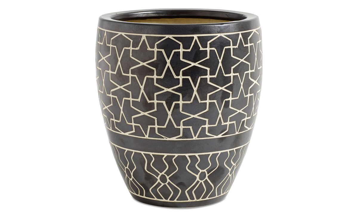 Nye designs - Ethnic vase - Sort - Keramikk