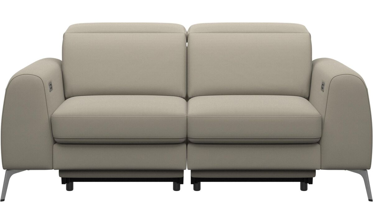 New designs - Madison sofa with electric seat, head and foot rest motion (rechargeable lithium battery included) - White - Fabric
