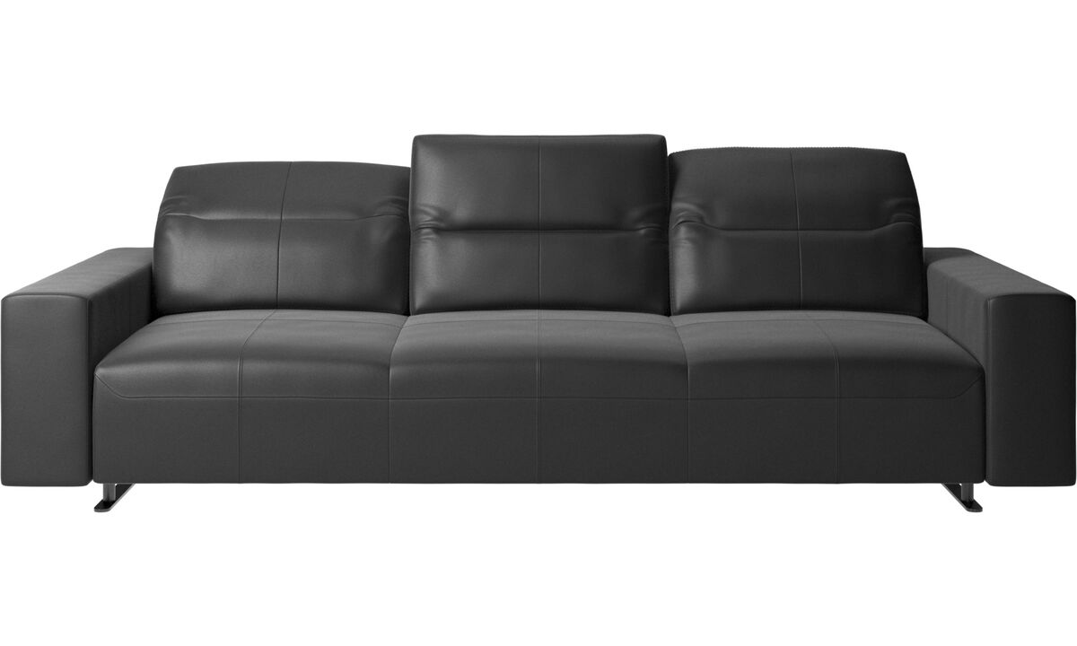 3 seater sofas - Hampton sofa with adjustable back - Black - Leather