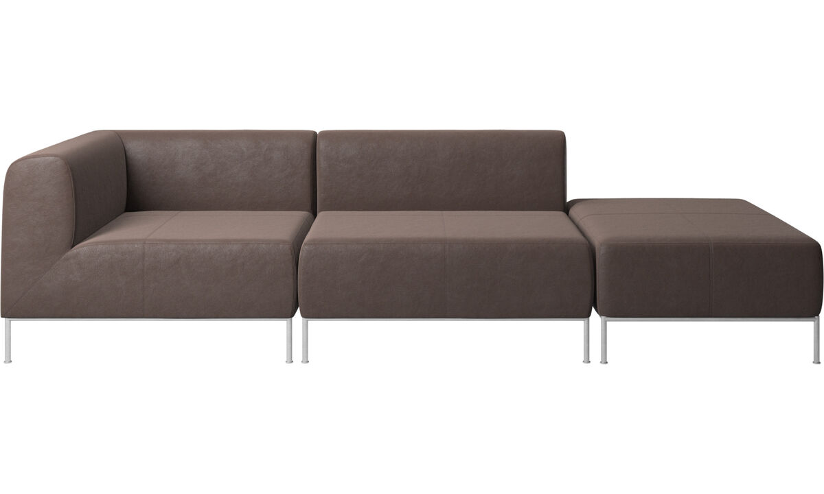 Modular sofas - Miami sofa with footstool on right side - Brown - Leather