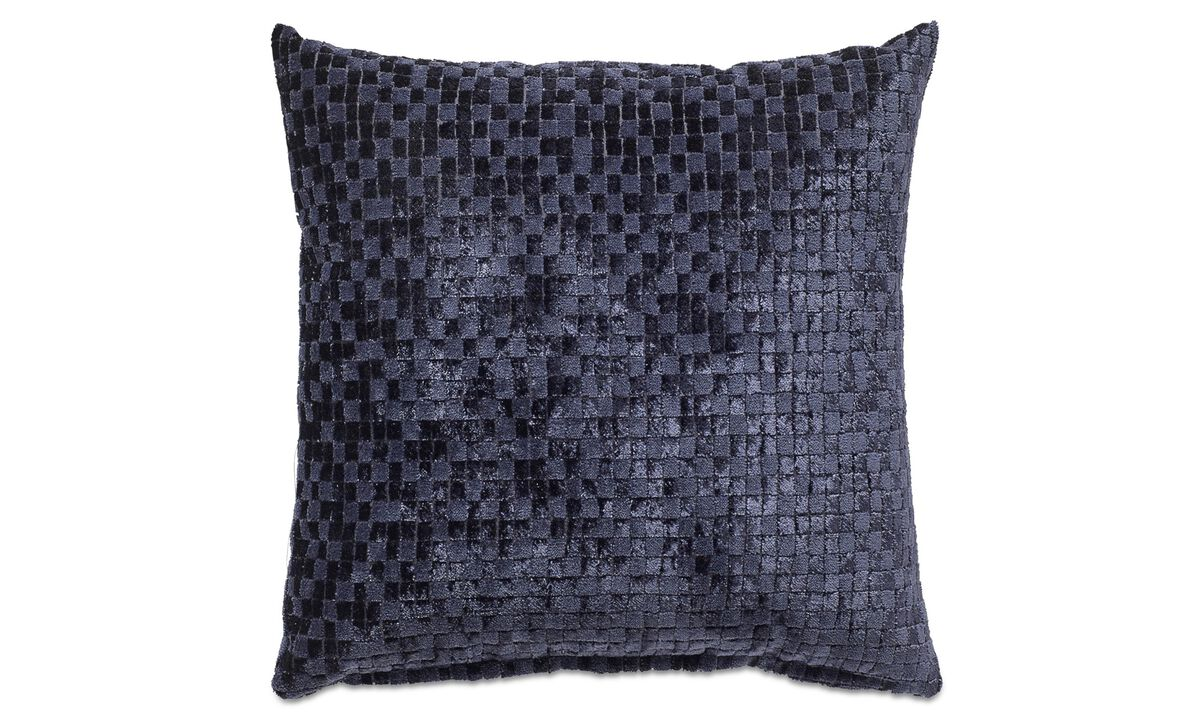 Velvet check cushion - Blue - Fabric