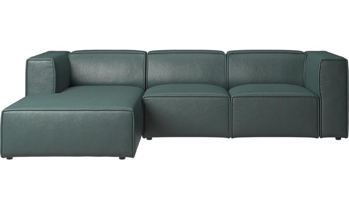 Sofas mit Récamiere - Carmo verstellbares Sofa mit Ruhemodul - Grün - Stoff