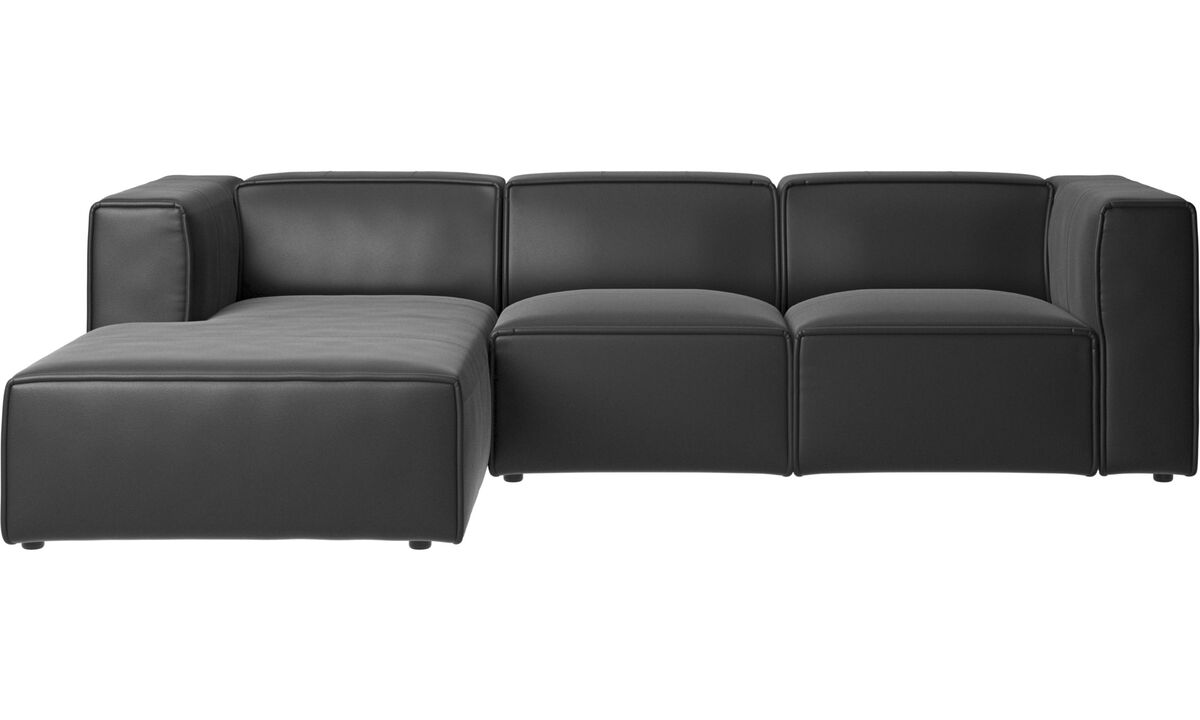 Recliner sofas - Carmo motion sofa with resting unit - Black - Leather