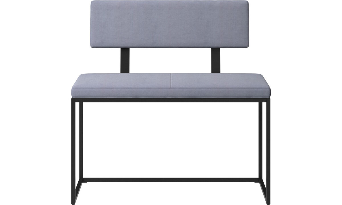 Benches - London small bench with cushion and backrest - Blue - Fabric