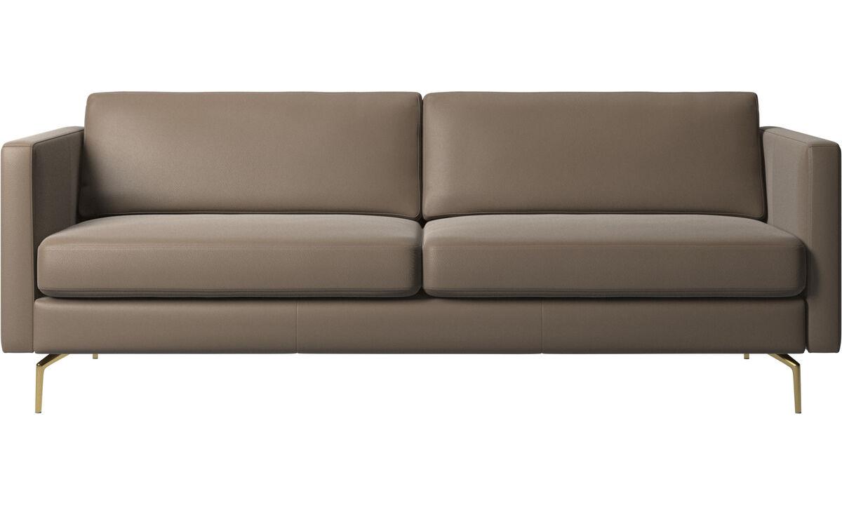 2.5 seater sofas - Osaka sofa, regular seat - Gray - Leather