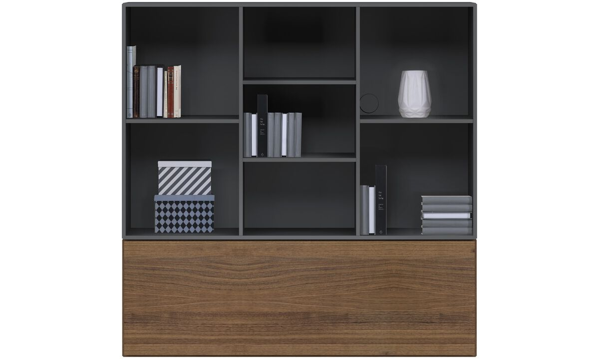 Wall Units - Lugano wall mounted wall system with drop down door - Brown - Lacquered