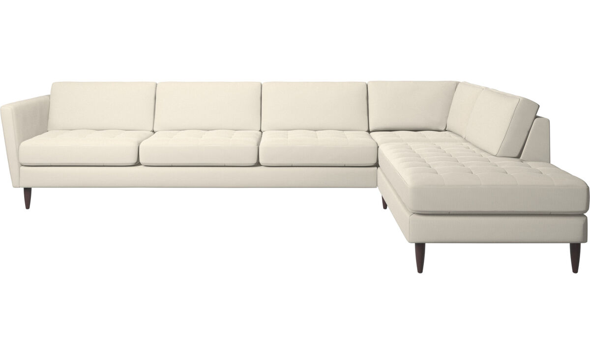 Sofas with open end - Osaka corner sofa with lounging unit, tufted seat - White - Fabric