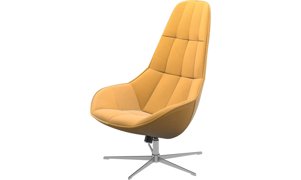 Armchairs - Boston chair with swivel and tilt function - Yellow - Fabric