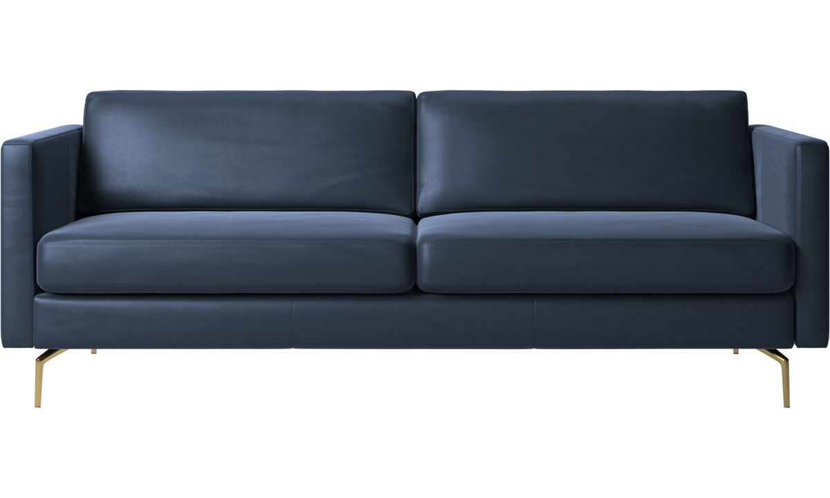 2.5 seater sofas - Osaka sofa, regular seat - Blue - Leather