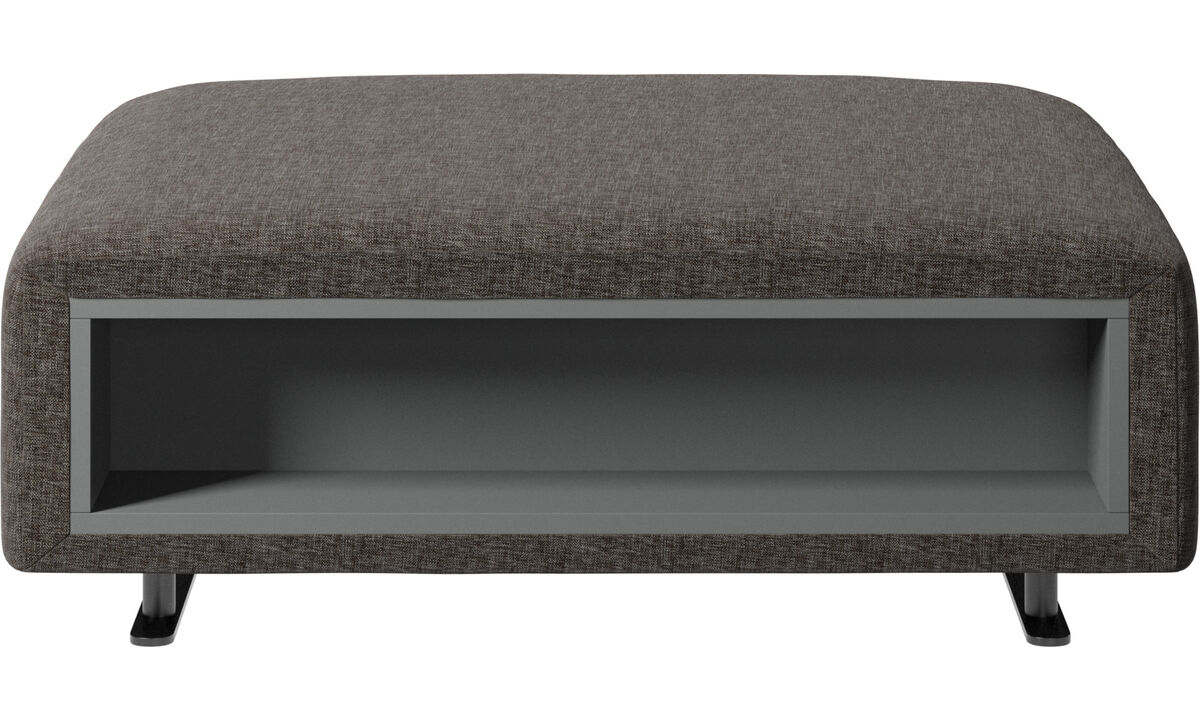 Footstools - Hampton footstool with storage left and right sides - Brown - Fabric