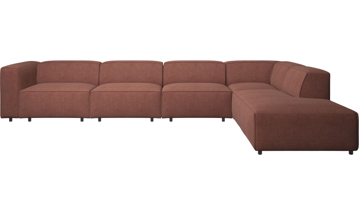 Sofas with open end - Carmo motion corner sofa - Red - Fabric