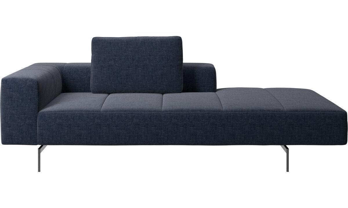 Canapés avec chaise longue - Module de canapé Amsterdam, accoudoir à gauche, chaise longue à droite - Bleu - Tissu