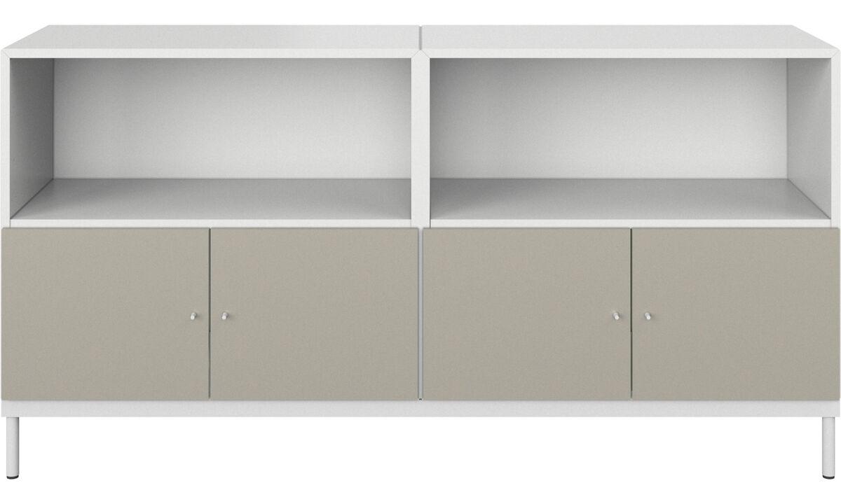Almacenamiento de oficina - Gabinete de base Atlanta con puertas y librería - Blanco - Laca